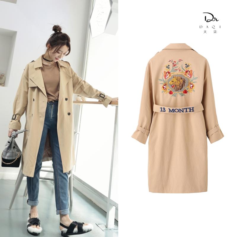 2018春季新款韩版腰带后背刺绣狮头绣花修身卡其色风衣女外套