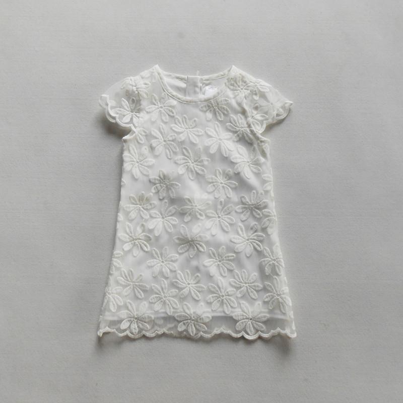 Foreign trade childrens original single girls embroidered dress childrens pure white dress princess skirt
