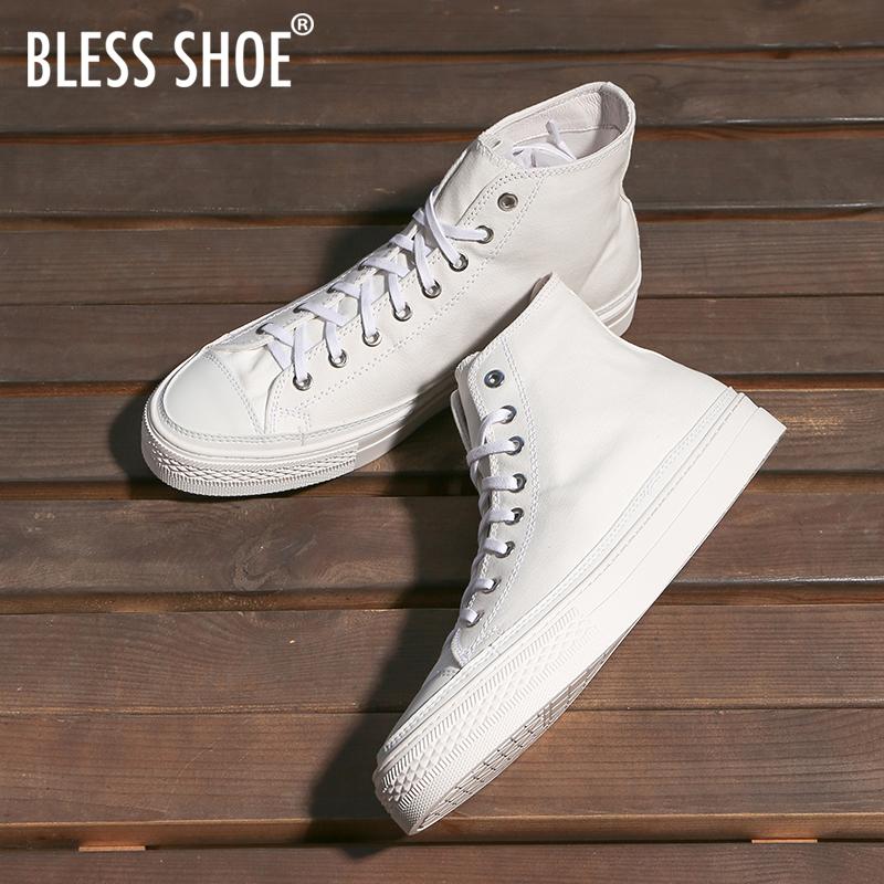 BLESS SHOE White series 手工制作 夏季白色高帮帆布鞋休闲鞋