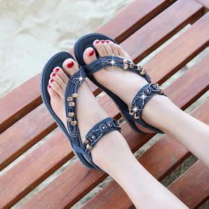 水钻旅游凉鞋夏2020新款波西米亚民族风串珠夹趾学生百搭度假女鞋