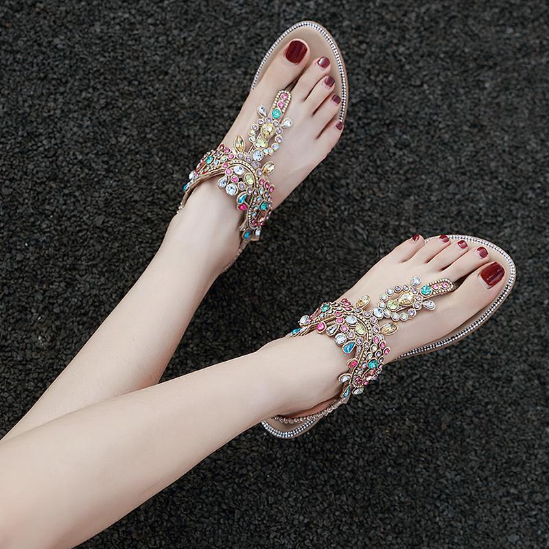 水钻罗马凉鞋女2020新款波西米亚民族风夹趾带钻沙滩度假旅游女鞋