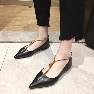 新款 欧美拉链单鞋 女2020春季 时尚 平底单鞋 尖头浅口性感百搭女鞋