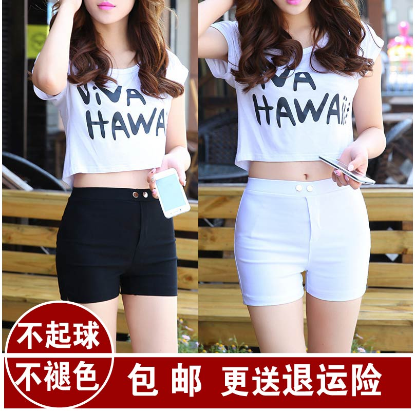 Spring, summer and autumn black and white super shorts womens high elastic outer wear large solid color double button bottom tight three point casual hot pants