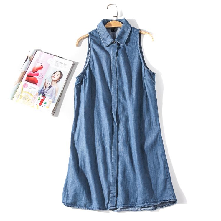 出口欧美单女装胸围92-110cm 翻领纯色无袖衬衫女中长款马甲U223