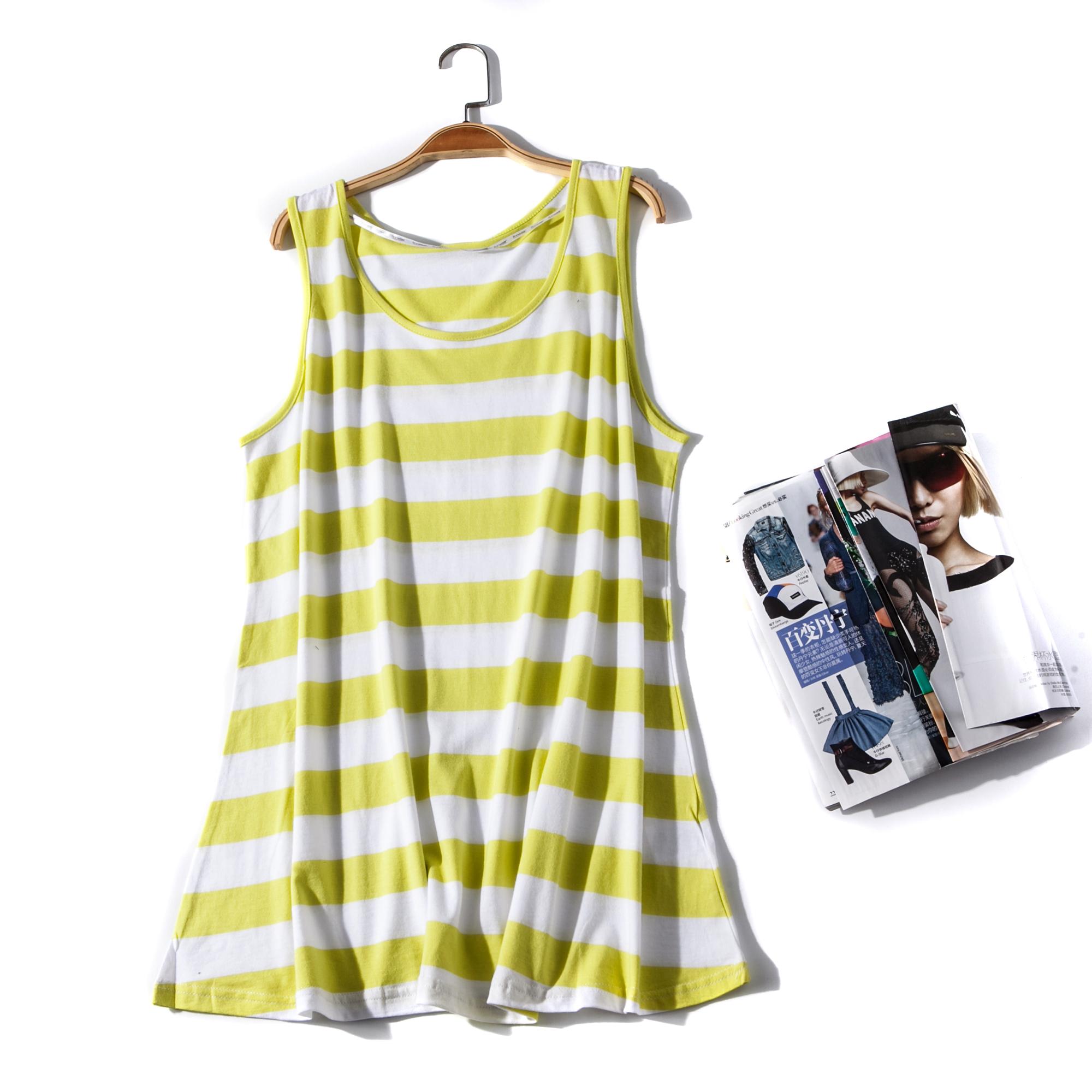出口欧美单女装胸围88-100cm 圆领无袖T恤女大码条纹背心G224