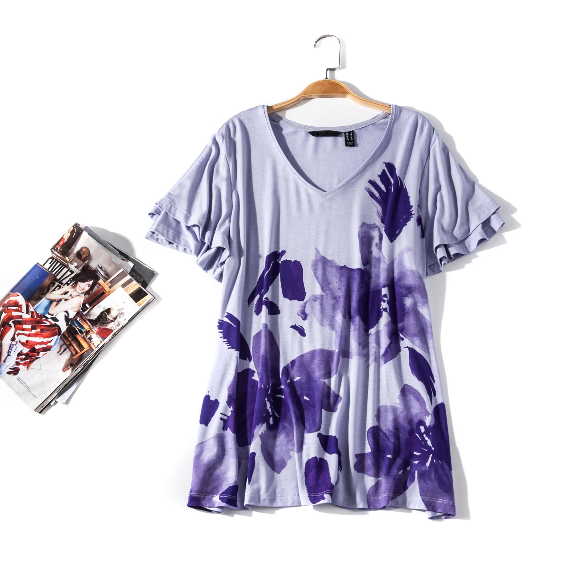 出口欧美单女装胸围84-144cmV领短袖花色大码T恤女I062B
