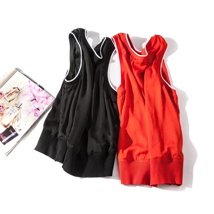 出口欧美单女装胸围88-110cm夏季新款罗纹口无袖背心有大码I266