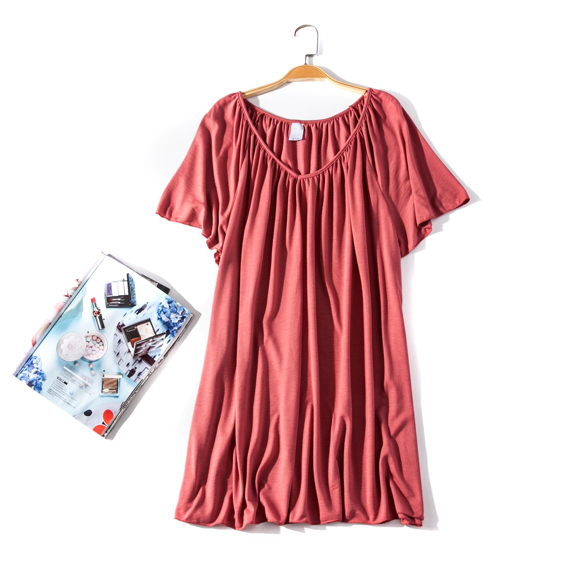 出口欧美单女装胸围124-150cm  V领插肩纯色大码胖MMT恤女L338C
