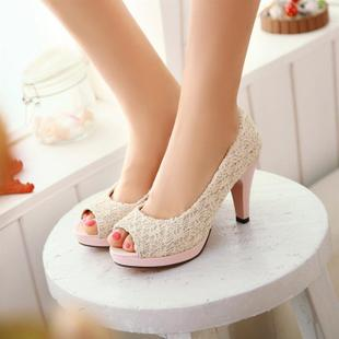 2015 summer new large size small yards white fish mouth sandals red high heeled shoes waterproof shoes wedding shoes