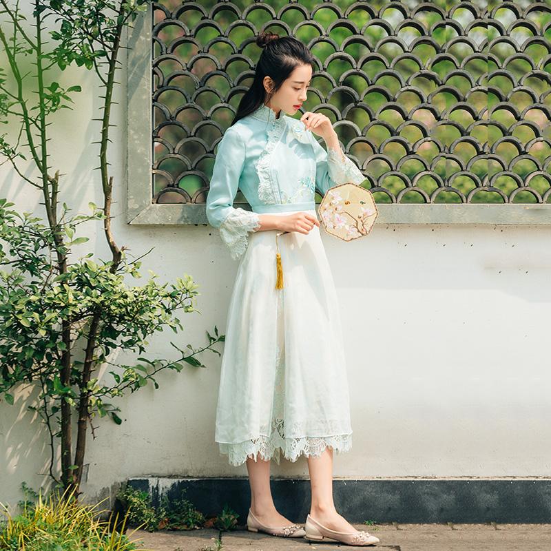 一辈子都穿不腻~进口蕾丝真丝绣花中式立领中长款女士连衣裙 春款