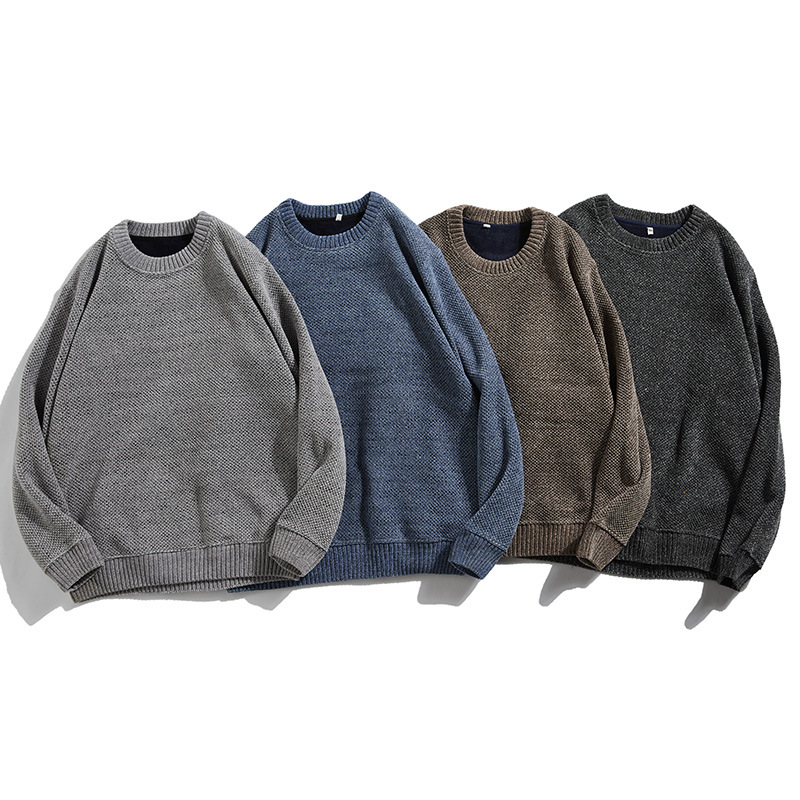 Round neck mens autumn and winter Plush sweater knitwear mens solid Korean retro bottoming jacket 9509