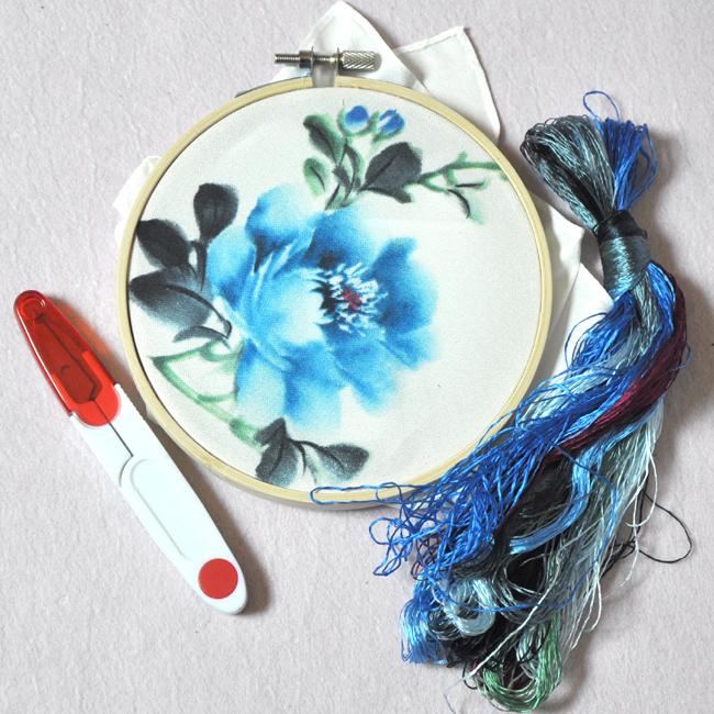 Вышивка DIY kit начинающих натянутая платок + игла + поток + рука + отправить ножницы вышивки стежком учебники
