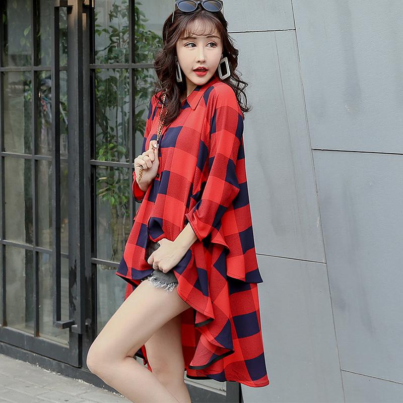 复古格子衬衫女社会宽松显瘦韩版潮娃娃衫心机上衣前短后长设计感