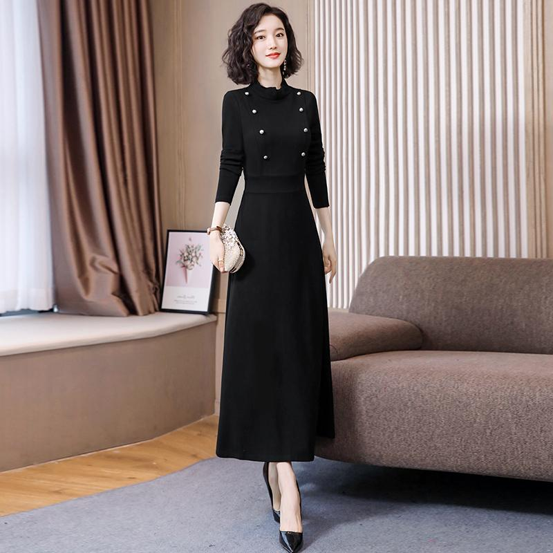 Autumn and winter black dress long dress slim temperament 2019 new skirt womens small fragrance long bottomed skirt
