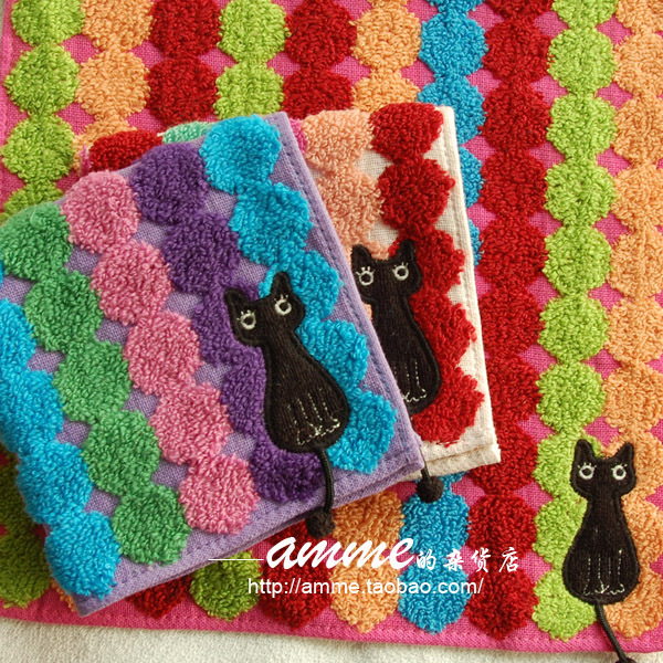 Amme small shop Art Museum pure cotton colorful water jade cats tail small square towel handkerchief