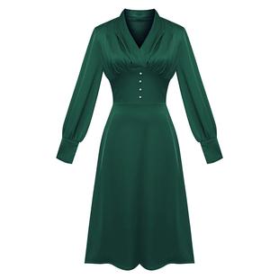 法式小眾連衣裙長袖秋裝女2020新款V領氣質收腰修身顯瘦長款裙子