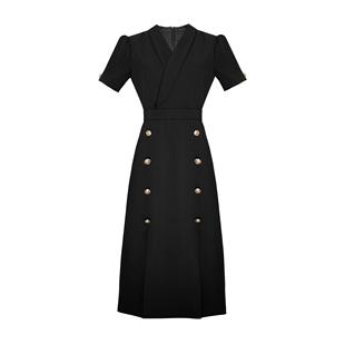 職業裝氣質女神範西裝裙女2020秋新款開叉OL白色中長款長袖連衣裙