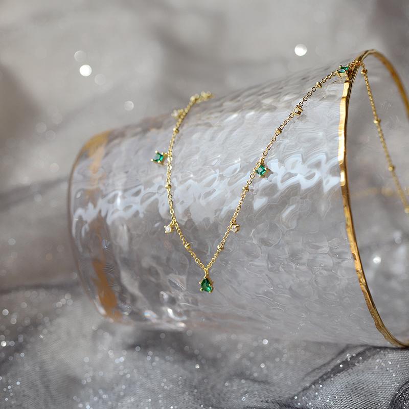 s925纯银choker锁骨链女祖母绿色锆石项链轻奢高级感复古宫廷少女 Изображение 1