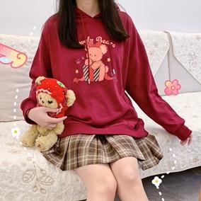 布丁熊【再贩】jk秋款红色宽松卫衣