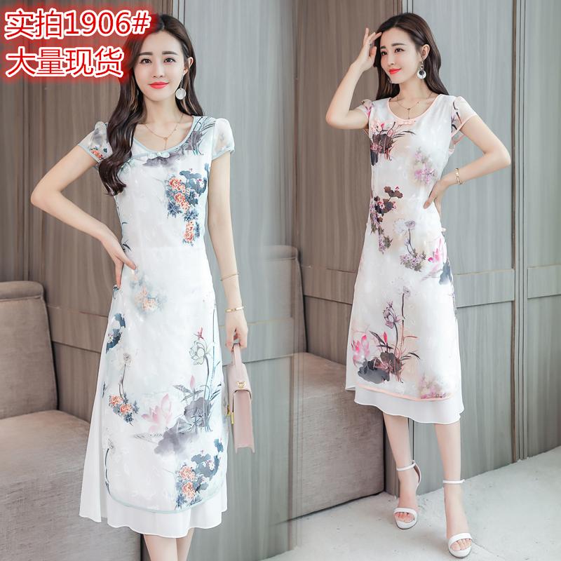 改良旗袍连衣裙中国风中长款2018夏季女装新款显瘦雪纺35-45