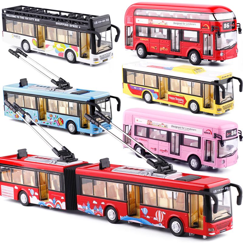 大�合金�Z音�p�警�大巴加�L公交��敦巴士�p�勇糜纹��模型玩具