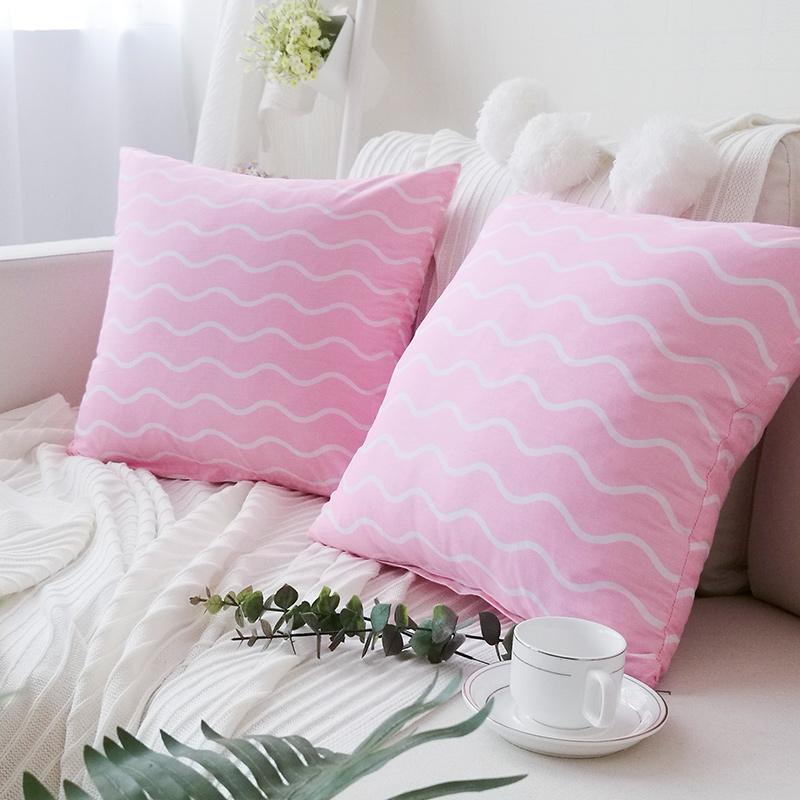 梦蔻 花朵条纹布艺沙发午睡抱枕含芯靠垫腰靠田园年终特价包邮