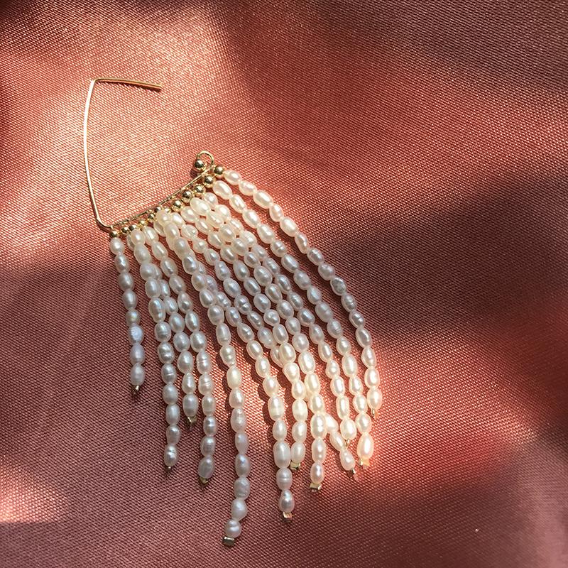 淡水珍珠流苏手工耳环ins时尚百搭小米珠耳钉个性小众单只耳饰女