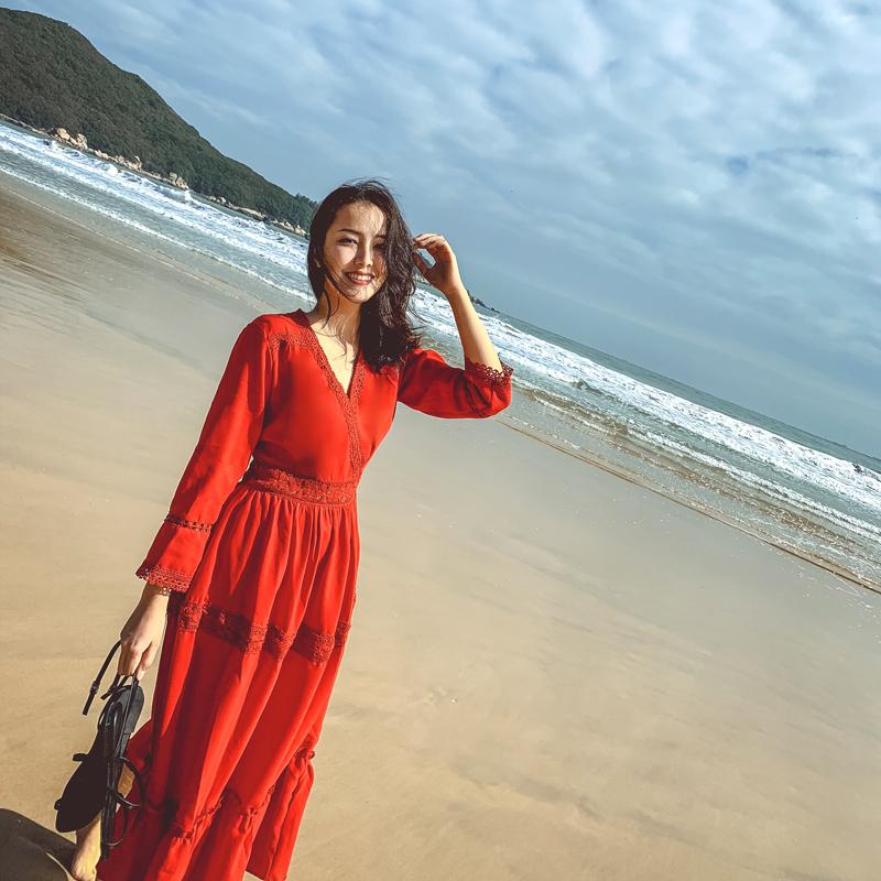 实拍2019新款复古蕾丝拼接沙滩裙 女神海边度假连衣裙显瘦长