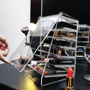 防尘透明口红收纳盒展示架子带盖多格大容量装口红唇釉眼影网红款