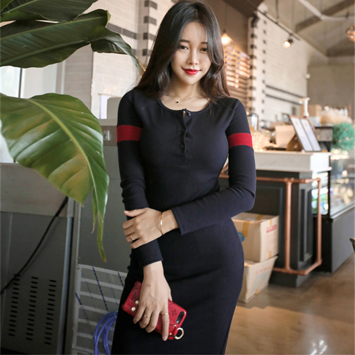 Only l xl848 2021 slim, sexy, fashionable and foreign style mid length knitted dress
