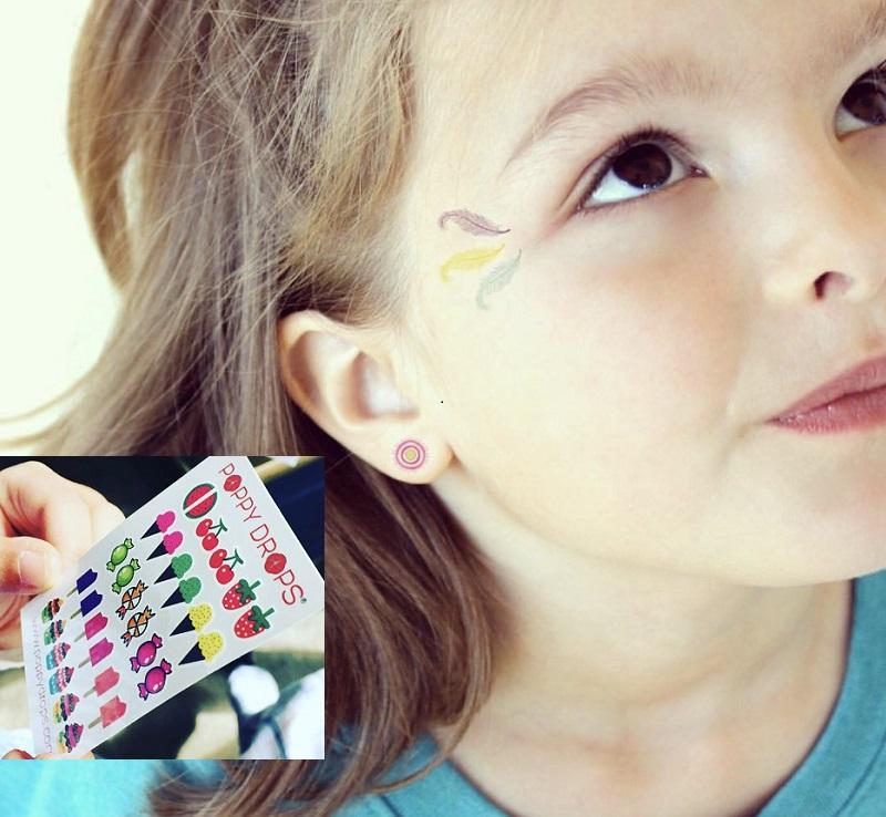 美国Poppy Drops耳环贴 儿童宝宝卡通纹身贴纸安全无毒 美国制造