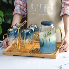 家用轻奢玻璃水杯套装客厅北欧简约水壶水具茶杯茶具喝水杯子套杯