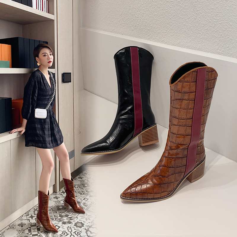 40-43 European and American autumn and winter pointed sleeve Knights womens boots stone pattern color matching foreign trade thick high heel middle tube boots a439