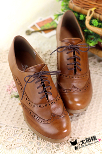 British retro real leather shoes classic elegant lace up block shoes comfortable Oxford Shoes pure hand made small leather shoes