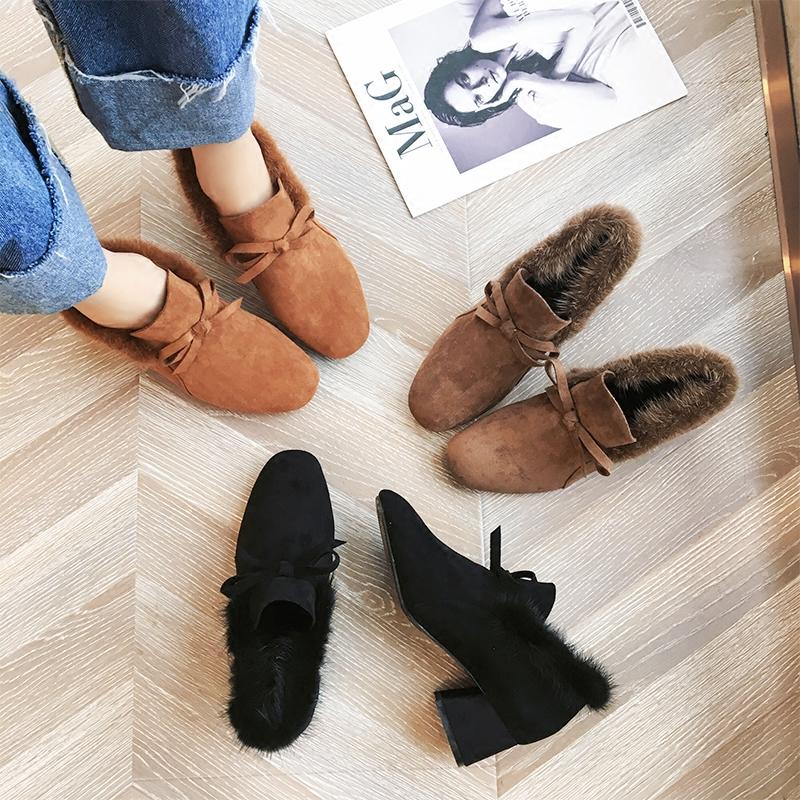 粗跟短靴女高跟鞋子女冬加绒2019春季新款复古方头女靴毛毛鞋外穿