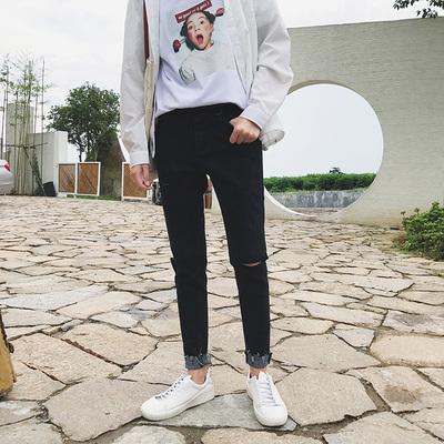 秋季潮流牛仔裤 男士韩版修身休闲裤破洞弹力小脚裤子N249P68