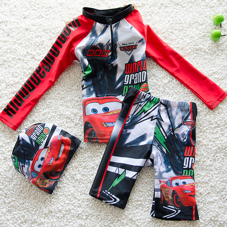 Childrens swimsuit boys car McQueen long sleeve sunscreen Capris split size boys swimming suit