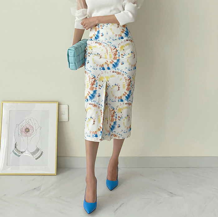 Brand womens clothing - 2021 new French niche professional ink printing pencil buttock skirt