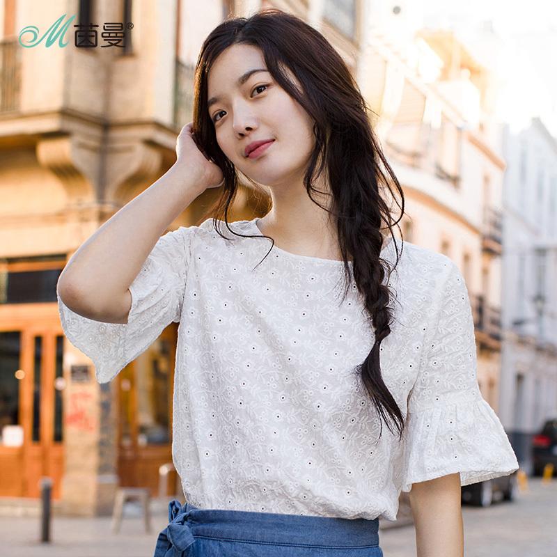茵曼旗舰店2018夏装新款女装喇叭中袖宽松衬衣纯棉半袖白衬衫上衣
