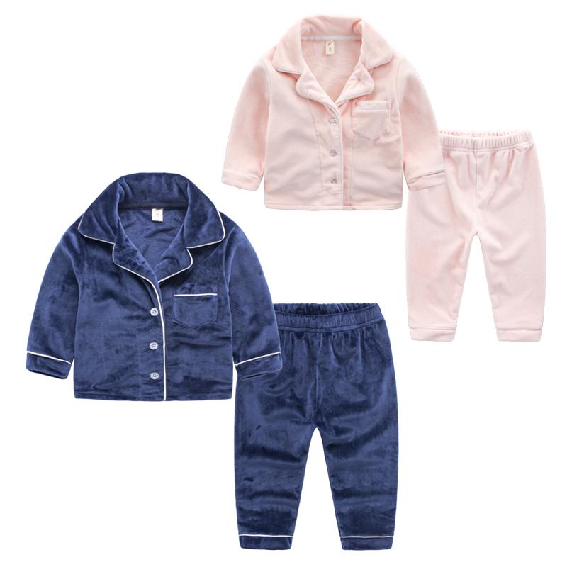 Домой костюм 2 ребенок мужской с длинными рукавами ребенок пижама фланель 5 ребенок 3 лет ребенок 4 осень зима плюс кашемир женщины ребенок