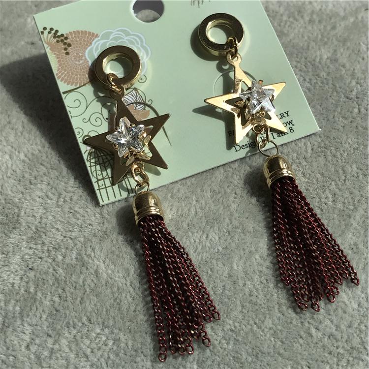 ERK时尚网红流行甜美夸张耳环街拍造型闪亮配饰棕红流苏星星