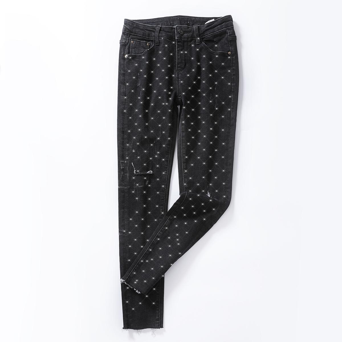 祖艾 定制【低调的奢华】闪钻点点最闪亮的星点牛仔裤