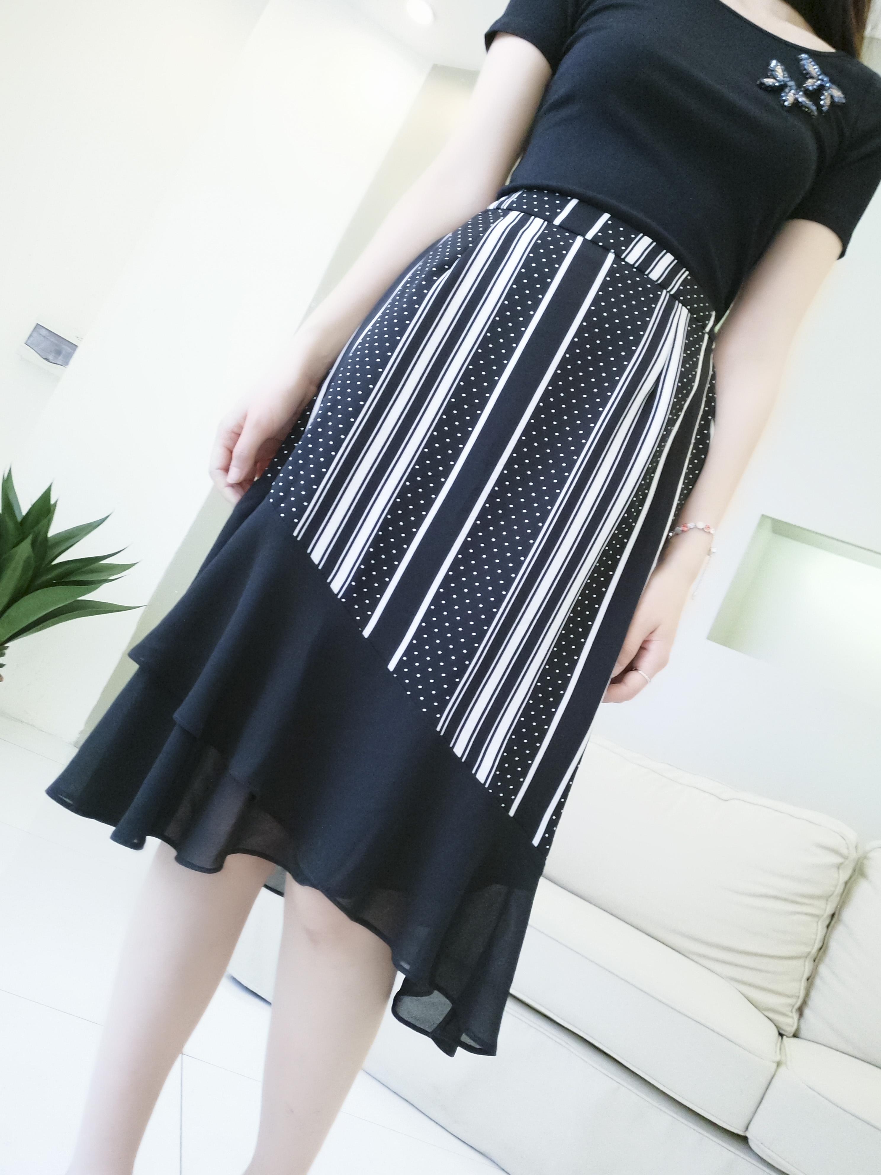祖艾 定制  优雅lady~女神范条纹拼波点网纱鱼尾半身裙