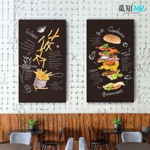 工业风黑板画酒吧装饰画汉堡披萨挂画西餐厅黑板画咖啡屋创意挂画