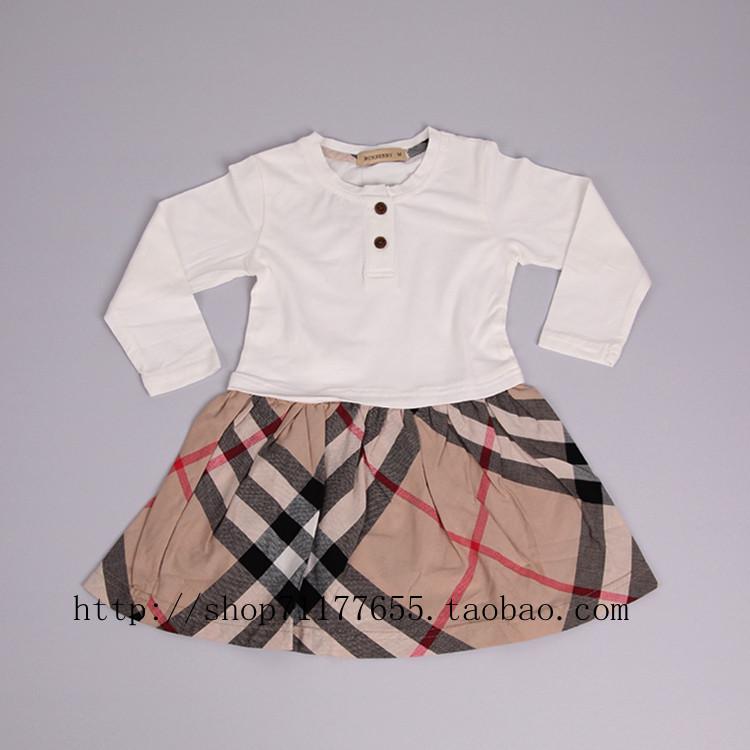 2012 Осень новый Корейский моды детей с длинным рукавом комбинезон группы взрыв классический плед платье оптовой