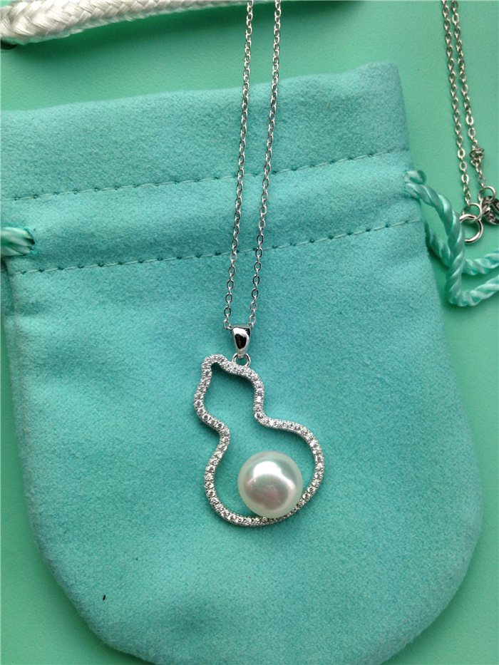 All body 925 Sterling Silver full diamond natural freshwater pearl hollow gourd Pendant Necklace with new fashion stars