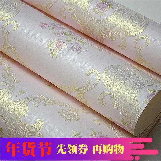 促销无纺布4D立体浮雕欧式田园壁纸 客厅卧室加厚 墙纸 婚房家装