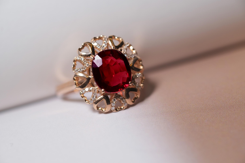 人间富贵 天然彩宝鸽血红全晶体碧玺宝石镶嵌钻石18k黄金戒指