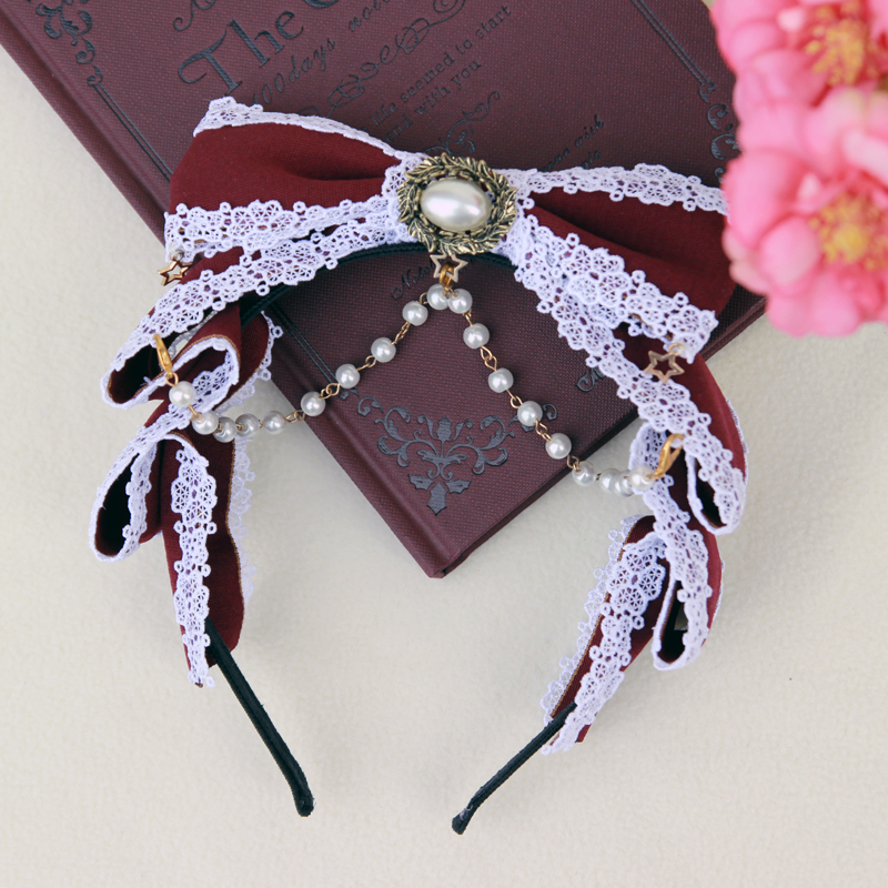 Cloud flower wedding Lolita Dress KC hair ornament wine red bow band cos jewelry
