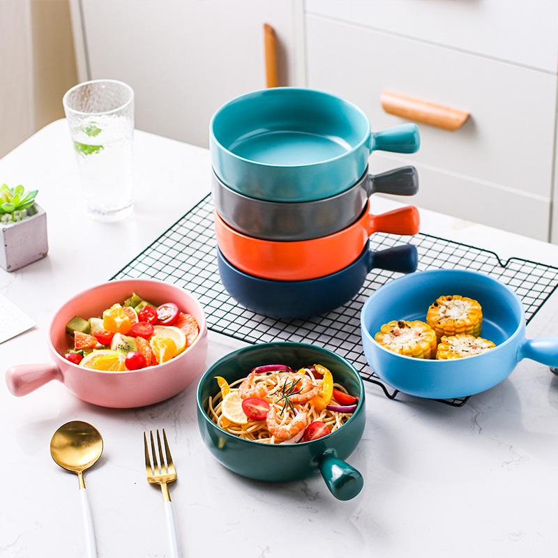 北欧网红餐具陶瓷泡面碗焗饭碗家用创意个性早餐碗单个水果沙拉碗